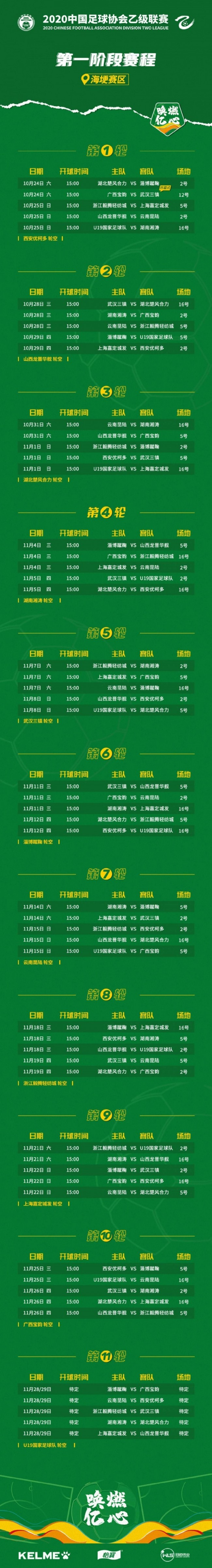 2020-2021赛季中乙第一阶段赛程时间表