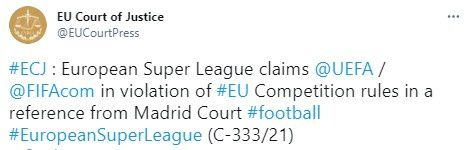 欧超联正式起诉欧足联国际足联 欧洲法院已受理该案