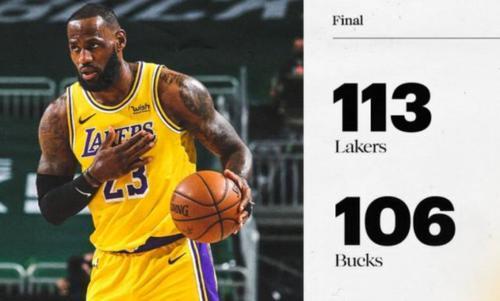 NBA最新积分榜:湖人113-106雄鹿,傲居联盟第一