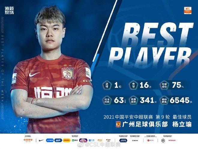 中超第9轮最佳球员:杨立瑜 近4场3球帮广州队登顶