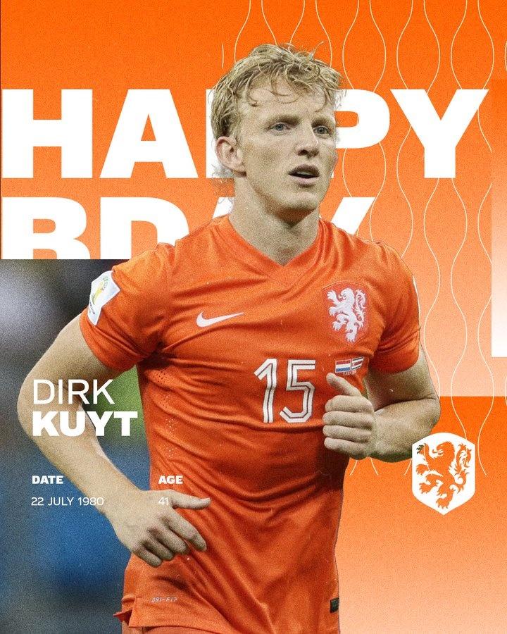 库伊特迎来41岁生日,荷兰国家队官方送上祝福