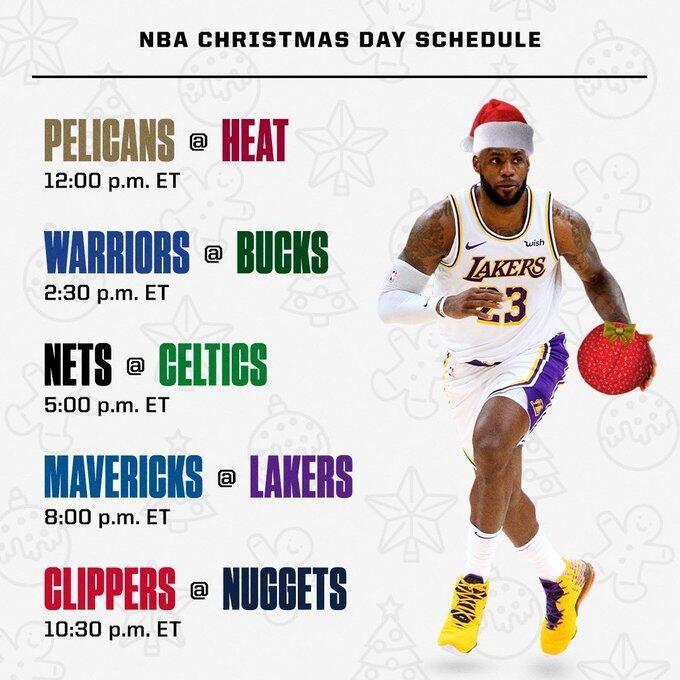 2020NBA圣诞大战赛程时间表一览