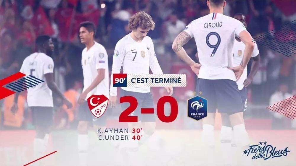 2020欧洲杯预选赛:法国0-2土耳其 乌姆蒂蒂失误致丢球