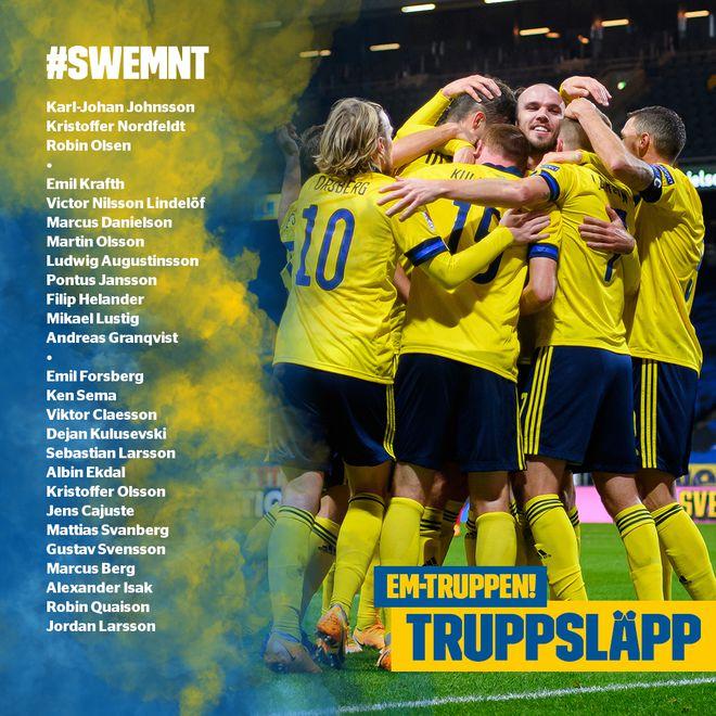 瑞典大名单:福斯贝里领衔 大连外援入选 伊布伤缺
