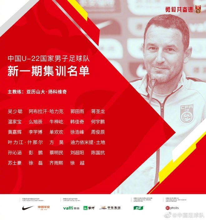 U22国足名单:郭田雨单欢欢方昊吴少聪蒋圣龙入选