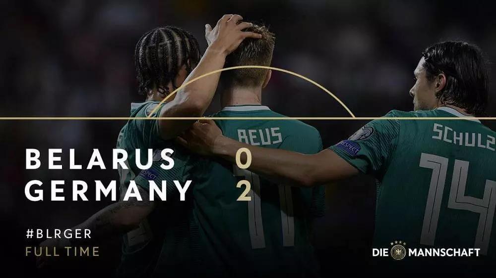 2020欧洲杯预选赛:德国2-0白俄罗斯 罗伊斯建功萨内破门+中柱