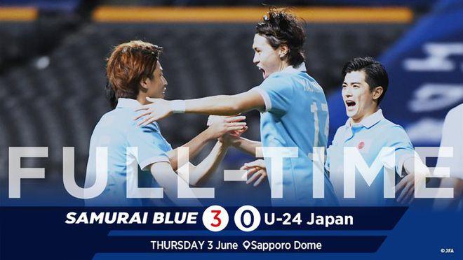 日本国家队3-0灭国奥!22名首发17人留洋 超强人才库
